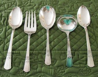 5 Antique Vintage Court Silverplate Sovereign Pattern Serving Pieces Gravy Ladle Meat Fork Casserole Spoon Serving Spoons  Circa 1930's