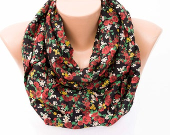 SALEInfinity scarf ,Loop scarf  ,flowered scarf
