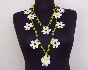 Beadwork necklace ,crochet beaded  lariat necklace ,oya necklace