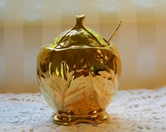 Royal Winton Grimwades Cabbage Leaf, Golden Age, Condiment Jar/Jam Pot/Jelly Jar