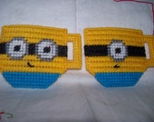 Plastic Canvasn Minion  Inspired Tea Cup Treat Bag Set