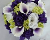 """RESERVED LISTING 11 Piece Package Silk Flowers Wedding Bridal Bouquet Bride Bouquets Picasso Calla Lily Lilies """"Lily of Angeles"""" PUGR05"""