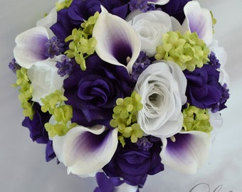 17 Piece Package Silk Flowers Wedding Bridal Bouquet Bride Bouquets Picasso Calla Lily Lilies PURPLE GREEN