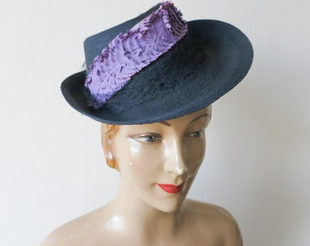 stunning 1930s 1940s vintage midnight blue to black sun hat with asymmetrical brim netting and purple  decoration antique German summer hat