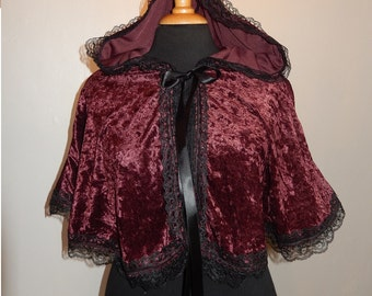 Brown gothic victorian velour cape