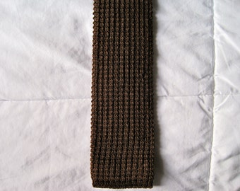 Skinny Knit Wedge Wool Necktie, Chocolate