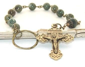 Catholic Man's Pocket Rosary with Pardon Crucifix, Jasper Beads