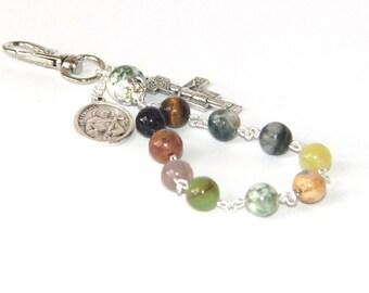 Traveler's Rosary Clip, Saint Francis Medal, Gemstone Beads, San Damiano Cross