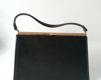 Vintage Purse, Vintage Handbag, 1950s Purse, 1950s Handbag, Retro Purse, Black Handbag, 50s Black Purse, 50s Black Handbag,