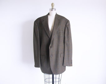 Vintage Men's Suit Jacket, 80s Plaid Jacket, Mens Wool Coat, Olive Blazer, Size X Large Blazer