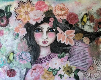 Whimsical girl. Mixed media portrait. Watercolor face and collage. Mixed media girl. Introducing Florence. Original