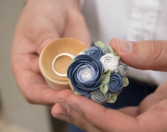 Blue Purple White Rose Flower Ring Box Wholesale Wooden Round Decorated Engagement Ring Holder Ring Case Wedding Gift Home Decor