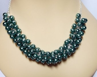 30% Off SALE thru Mon Green Teal Pearl Cluster Necklace, Mom Sister Jewelry, Gift, Bridesmaid Necklace, Modern Pretty