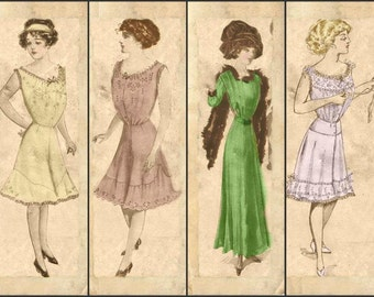 Edwardian Ladies Dress and Undergarments Early 1900's Scrapbooking Cards Tags Ephemera Digital Arts Download Collage Sheet