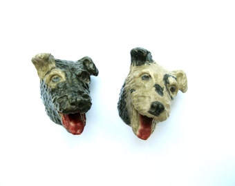 Vintage Dog Wall Plaques: Plaster Terriers, Pair of Dog Heads for Your Collection