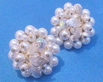 Vintage 1960's Faux Pearl Bead Cluster Clip Earrings