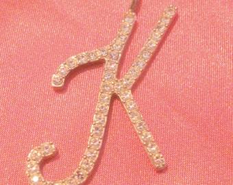 Vintage Silver Tone Rhinestone Initial K Pendant