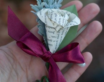 READY TO SHIP - Book Page Tale Of Two Cities Paper Boutonniere Pin