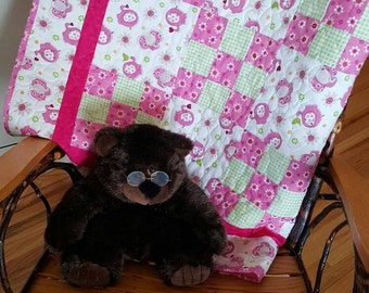Patchwork Pink Elephant Baby Quilt, Baby Quilt Blanket, Baby Birds Baby Girl Blanket