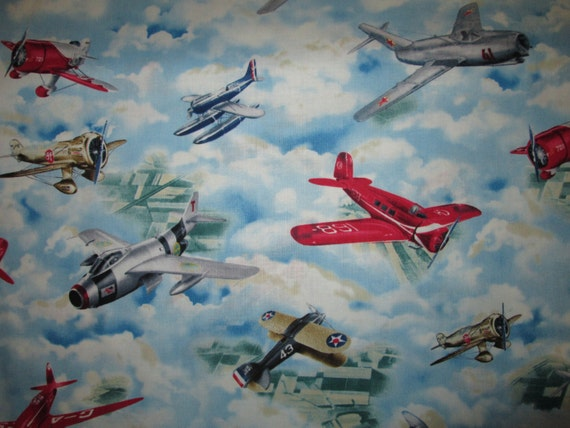 Vintage airplane fighter airplanes blue cotton fabric by for Airplane print cotton fabric