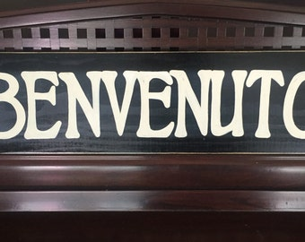 BENVENUTO Sign Plaque Welcome Italian Country Home Wall Decor Italy Hand Painted Rustic You Pick Color Wooden