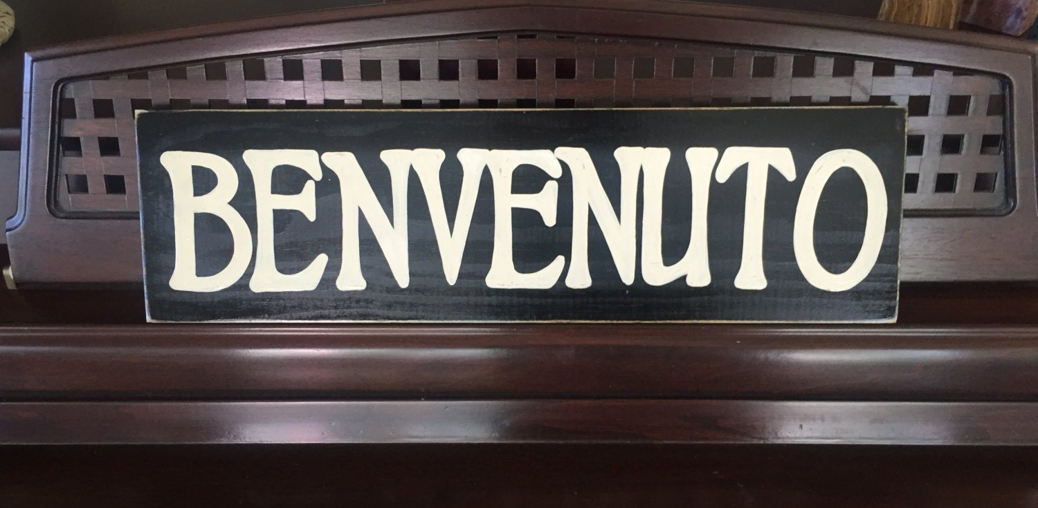 Benvenuto Sign Plaque Welcome Italian Country Home Wall Decor