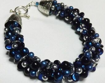 Kumihimo Bracelet - 7 strand blue, black, and silver kumihimo bracelet handcrafted beaded bracelet