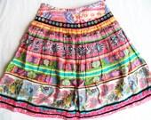 Bright bohemian skirt/ vintage multi color pleated skirt/ mirror work on velvet festival skirt size 8/boho hippie