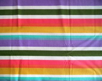 "Pastel stripe fabric/ vintage rainbow pastel striped fabric/ Measures 1yd & 11"""
