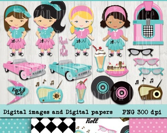Rock and roll Personal and Commercial Use Clip Art -INSTANT DOWNLOAD -