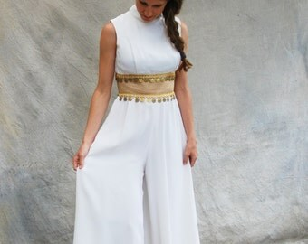 Vintage 60s mod white and gold retro jumpsuit- 1960s I Dream of Jeannie palazzo pants jumpsuit - medium