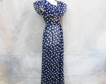 Sweet 1930s antique sheer blue and white polka dot floor length dress - 30s art deco long summer dress - medium