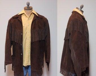 XL | Dark Brown Fringe Leather Jacket