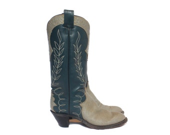 8 1/2 B | Women's Vintage Olathe Cowboy Boots Tall Heel Western Boot in Blue and Gray