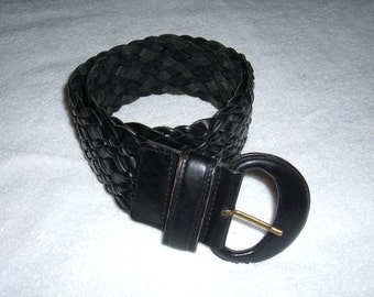 Vintage Ladies' Black Woven Leather Belt -Size M-Omega-Made in Turkey