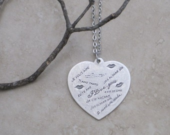 Love in Every Language Antique Silver Heart Necklace