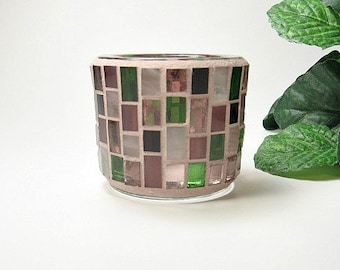 Stained glass mosaic tealight candle holder rose red olive green