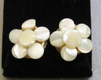 White Mother of Pearl Flower Clip Earrings