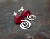 Red Sea Glass Earrings:  Modern Beach Nautical Jewelry, Silver Swirl Dangle Earrings, Cherry Red Drop Earrings, Red Wedding Accessory