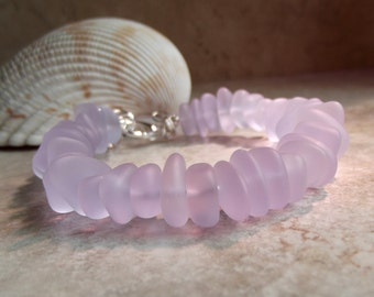 Pale Lavender Seaglass Bracelet, Soft Lilac Beach Pebble Chunky Bracelet, Autumn Wedding Jewelry, Fall Accessory, Color Changing Stones