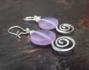 Purple Sea Glass Earrings:  Lavender Drop Earrings, Silver Swirl Dangle Earrings, Modern Beach Wedding Jewelry Spring Pastel Bridal Earrings