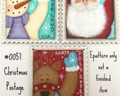 EPATTERN,0057 Christmas Postage Stamp Ornaments, digital download, painting pattern, painting Epattern, Christmas ornament,