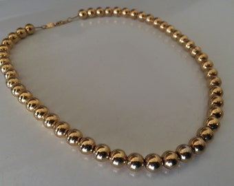 Sturdy Strand of Vintage Gold Tone Beaded Necklace