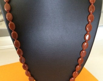 Be Basic Long Vintage Brown Glass Bead Necklace