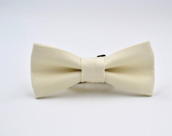 Bowtie Boys in Off-White Twill, Ivory Bow Tie, Cream Bow Tie, Boys Ivory Bow Tie