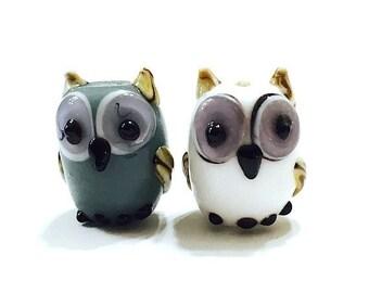 White and Gray Owl Lampwork Beads, Animal Lampwork, Bird Beads, 10 pieces