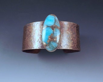 Amazonite- Aqua and Gold- Gorgeous Burnished Gold Patina- Metal Art Bracelet by RedPaw- Bronze Cuff Bracelet