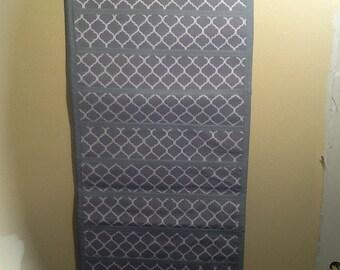 Beautiful grey quatrefoil organizer!