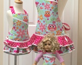 Reversible Mommy and Me AND Matching Doll Ruffled Apron Set Pink Owls on Turquoise with Polka Dots