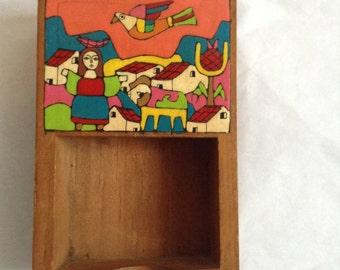 Vintage enamel Painted Wood Box or note holder. from La Palma El Salvador.  Mid Century, Danish Modern. Eames ERA.  Vintage 1960s.